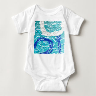 teal blue white abstract wall image grafitti baby bodysuit
