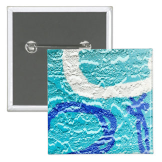 teal blue white abstract wall image grafitti pinback button