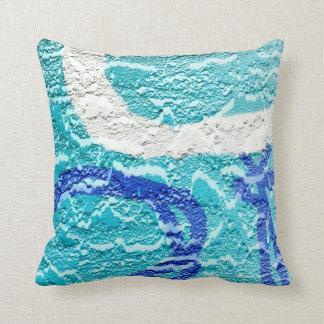 teal blue white abstract wall image grafitti throw pillow