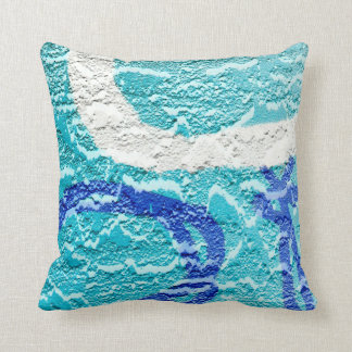 teal blue white abstract wall image throw pillow