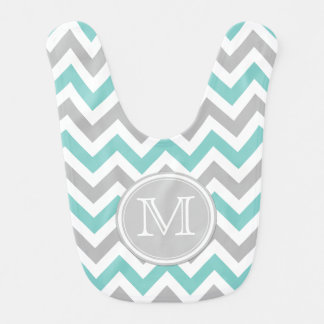 Teal Blue, White and Gray Chevron Pattern Baby Bib