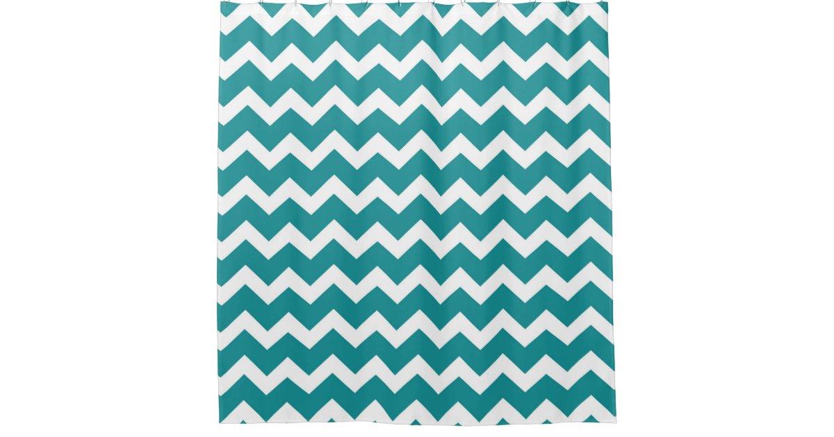 Teal Blue White Chevron Stripes Shower Curtain
