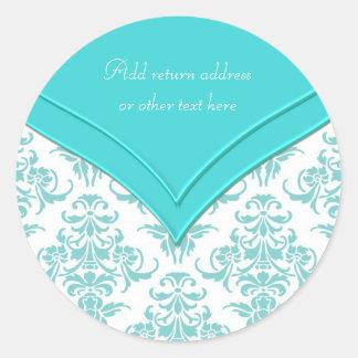 Teal Blue White Classic Round Sticker