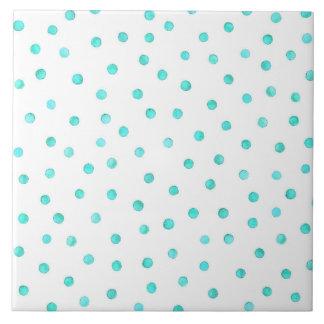 Teal Blue White Confetti Dots Pattern Ceramic Tile