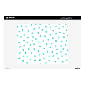 Teal Blue White Confetti Dots Pattern Laptop Skins