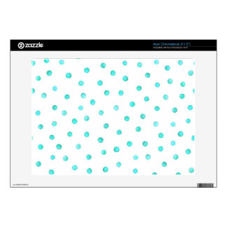 Teal Blue White Confetti Dots Pattern Skin For Acer Chromebook
