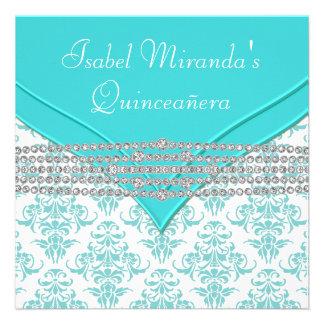 Teal Blue White Damask Diamond Quinceanera Invites