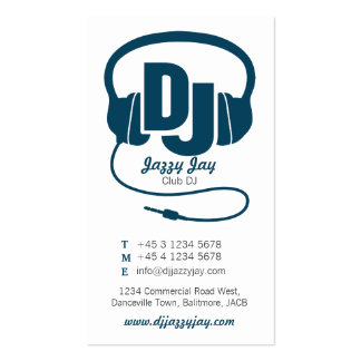 teal blue & white DJ promoter business card