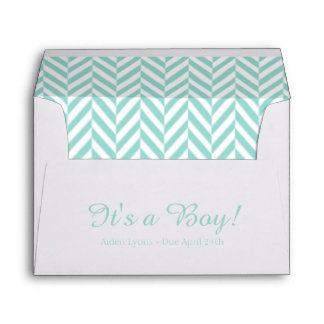 Teal Blue White Due Date Baby Shower Envelopes