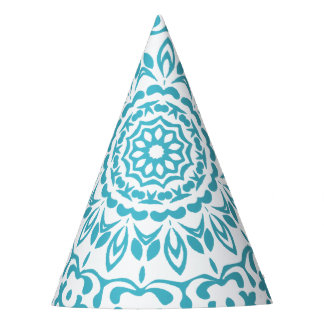 Teal Blue White Elegant Classy Lacy Patterned Party Hat