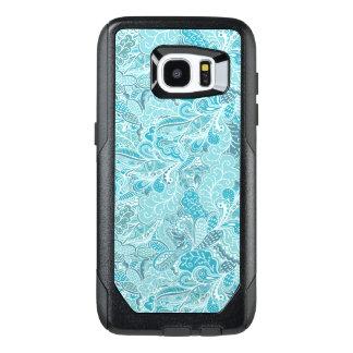Teal Blue White Elegant Paisley Pattern OtterBox Samsung Galaxy S7 Edge Case