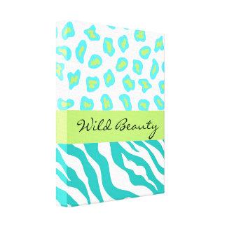 Teal Blue, White & Green  Zebra & Cheetah Custom Canvas Print