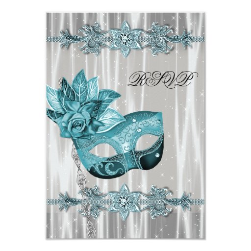 Teal Blue White Masquerade Party RSVP 3.5x5 Paper Invitation Card