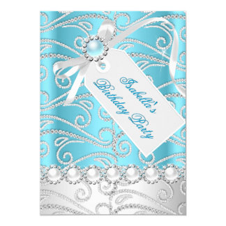 Teal Blue White Pearl Diamonds Birthday Party 4 5x7 Paper Invitation Card