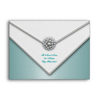 Teal Blue White Pearl Teal Blue Envelopes