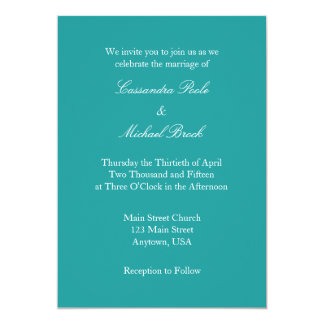 Teal Blue White Plain Simple Wedding Invitation