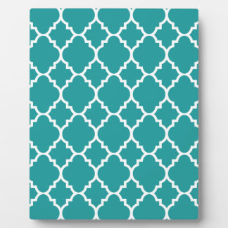 Teal Blue White Quatrefoil Moroccan Pattern Plaque