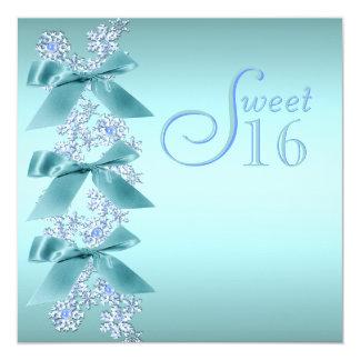 Teal Blue White Snowflake Sweet Sixteen Birthday Card
