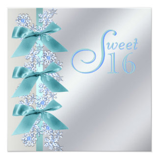 Teal Blue White Snowflake Sweet Sixteen Birthday Card
