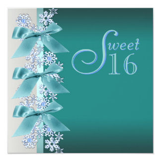 Teal Blue White Snowflake Sweet Sixteen Birthday 5.25x5.25 Square Paper Invitation Card