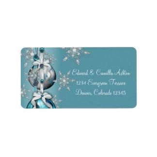Teal Blue White Snowflakes Blue Christmas Address  Address Label