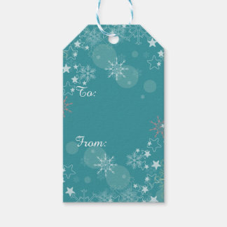 Teal Blue White Snowflakes Gift Tags Pack Of Gift Tags