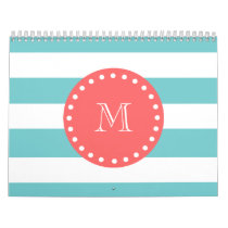 Teal Blue White Stripes Pattern, Coral Monogram Calendar