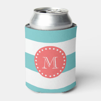 Teal Blue White Stripes Pattern, Coral Monogram Can Cooler