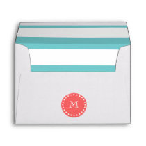 Teal Blue White Stripes Pattern, Coral Monogram Envelope