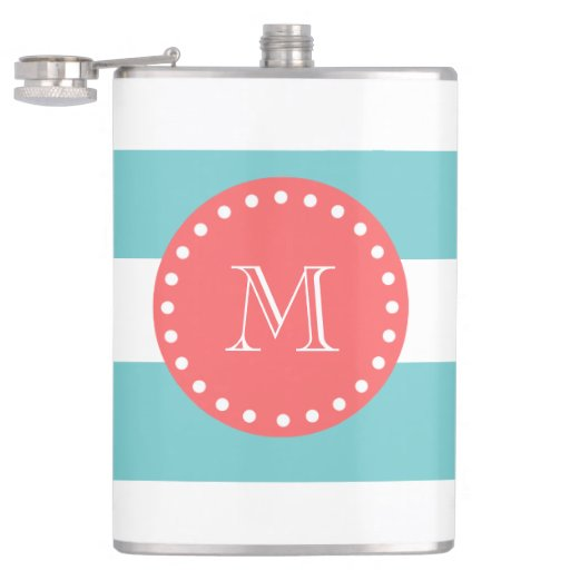Teal Blue White Stripes Pattern, Coral Monogram Flasks