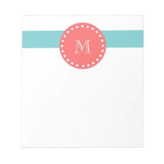 Teal Blue White Stripes Pattern, Coral Monogram Notepad