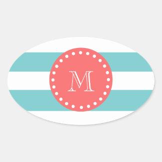Teal Blue White Stripes Pattern, Coral Monogram Oval Sticker