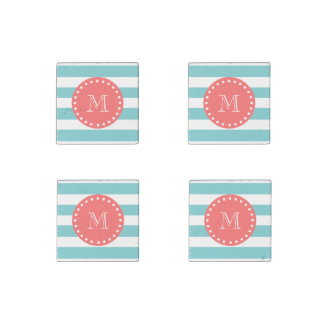 Teal Blue White Stripes Pattern, Coral Monogram Stone Magnet
