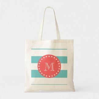 Teal Blue White Stripes Pattern, Coral Monogram Tote Bag
