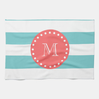 Teal Blue White Stripes Pattern, Coral Monogram Towel