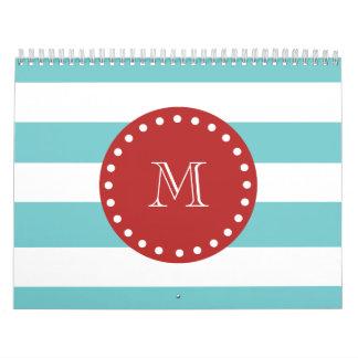 Teal Blue White Stripes Pattern, Red Monogram Calendar