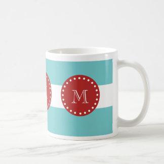 Teal Blue White Stripes Pattern, Red Monogram Coffee Mug