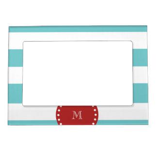 Teal Blue White Stripes Pattern, Red Monogram Magnetic Frame