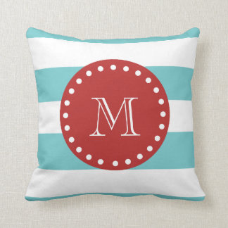 Teal Blue White Stripes Pattern, Red Monogram Pillows