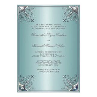 Teal Blue White Wedding Invitations