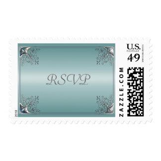 Teal Blue White Wedding Invitations Stamp