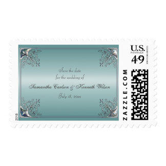 Teal Blue White Wedding Invitations Stamps