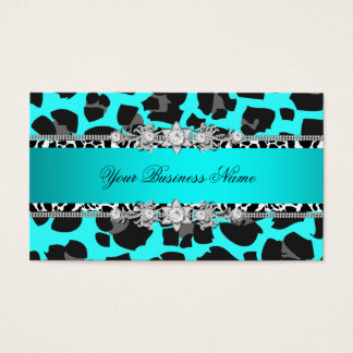 Teal Blue Wild Animal Black Jewel Look Image Business Card