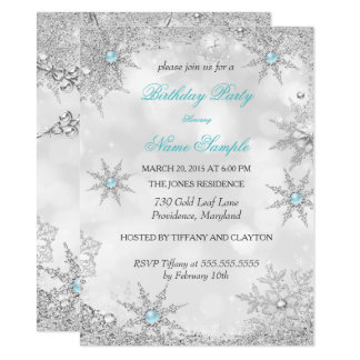Teal Blue Winter Wonderland Birthday Party Card