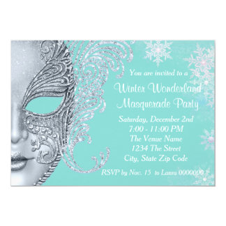 Teal Blue Winter Wonderland Masquerade Party 5x7 Paper Invitation Card