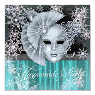 Teal Blue Winter Wonderland Masquerade Party 5.25x5.25 Square Paper Invitation Card