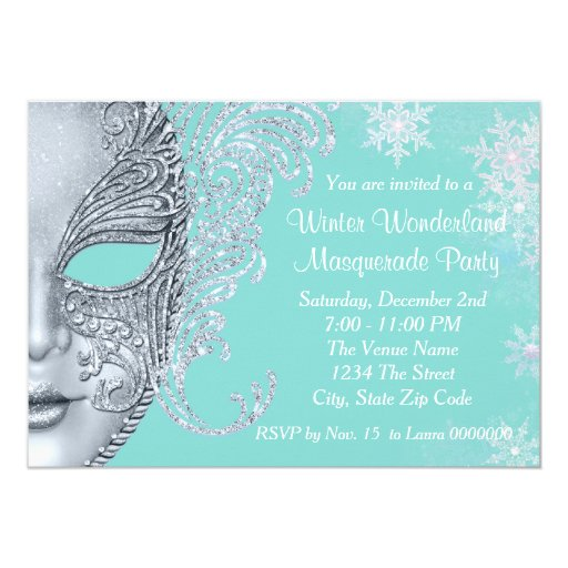 Teal Blue Winter Wonderland Masquerade Party 5x7 Paper ...