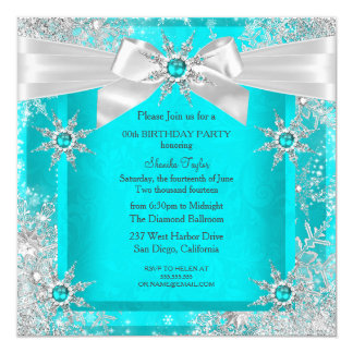 Teal Blue Winter Wonderland Snowflake Silver Bow 2 Card