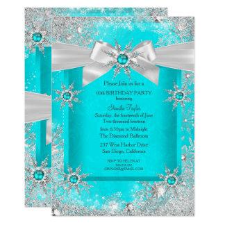 Teal Blue Winter Wonderland Snowflake Silver Bow 2 Card