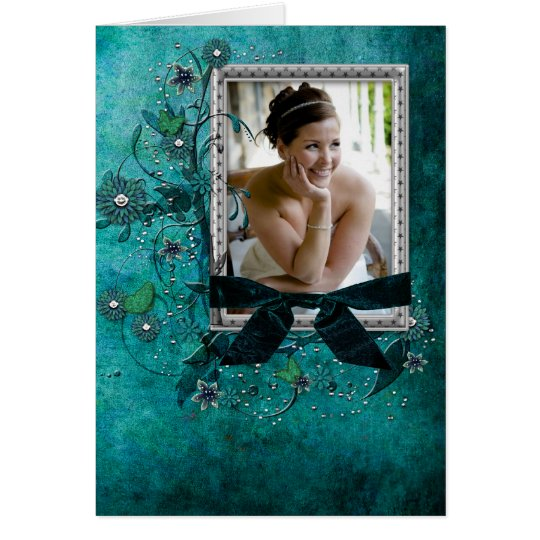 Teal blue with flowers photo template
